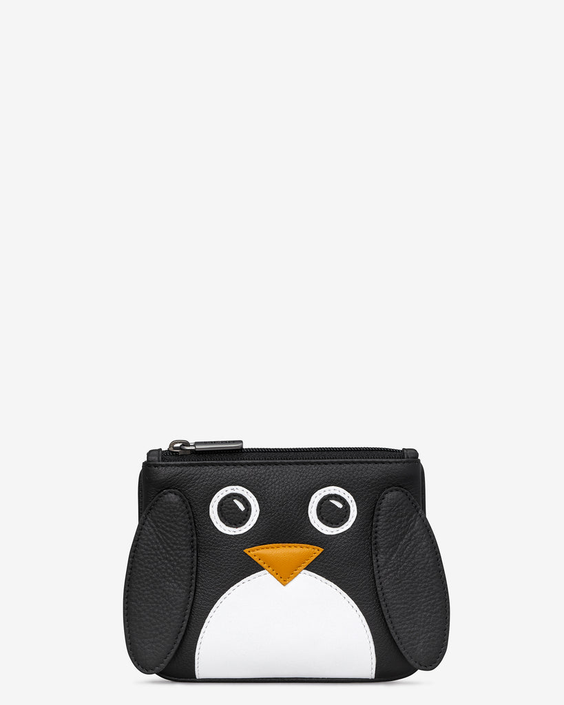 Greta The Penguin Zip Top Leather Purse - Black - Yoshi