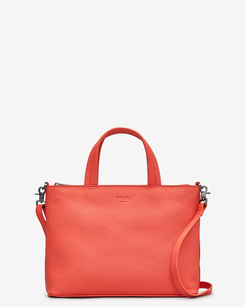 Hampton Coral Leather Multiway Grab Bag - Coral - Yoshi
