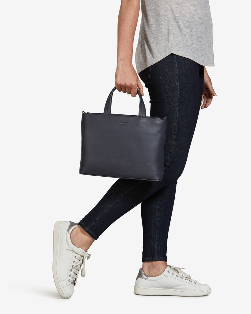 Hampton Navy Leather Multiway Grab Bag - Yoshi