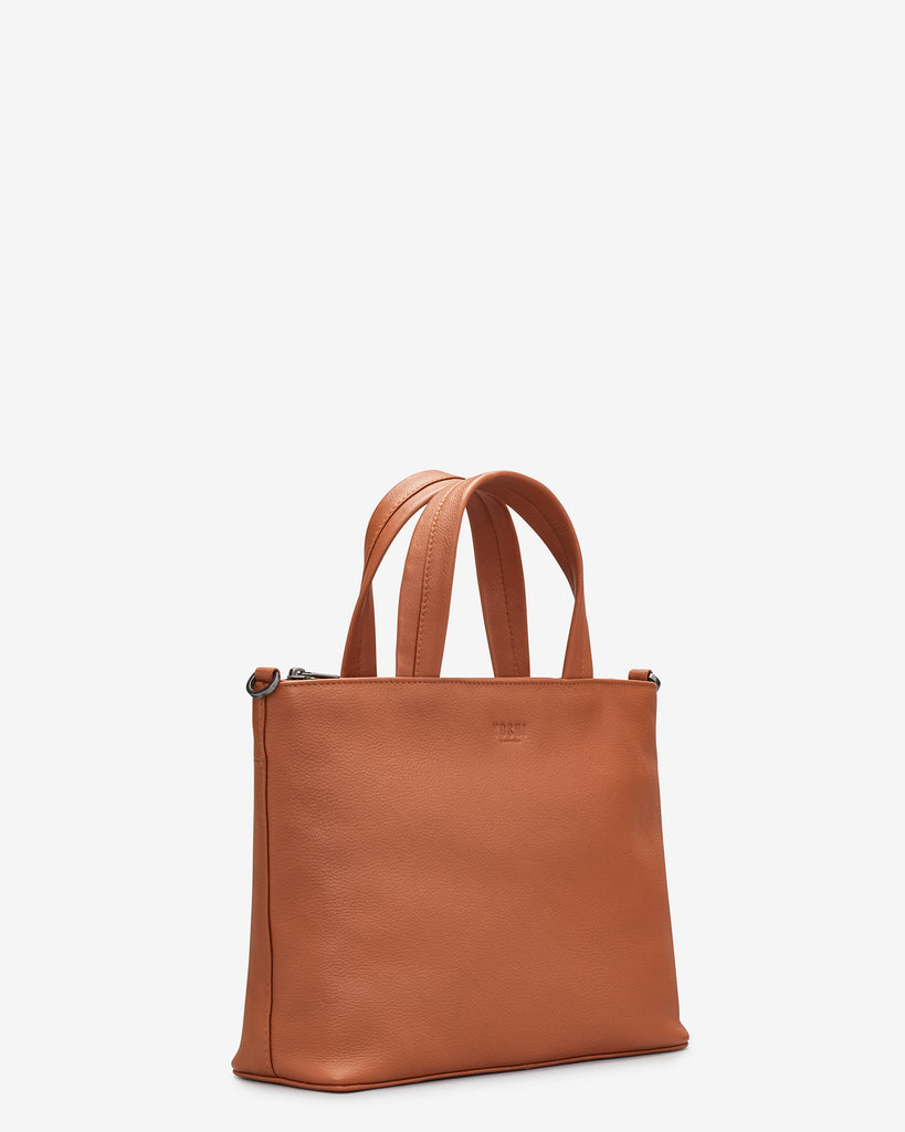 Hampton Tan Leather Multiway Grab Bag -  - Yoshi