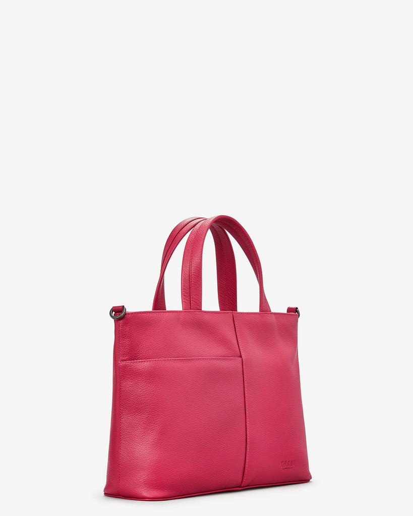 Hampton Raspberry Leather Multiway Grab Bag - Yoshi