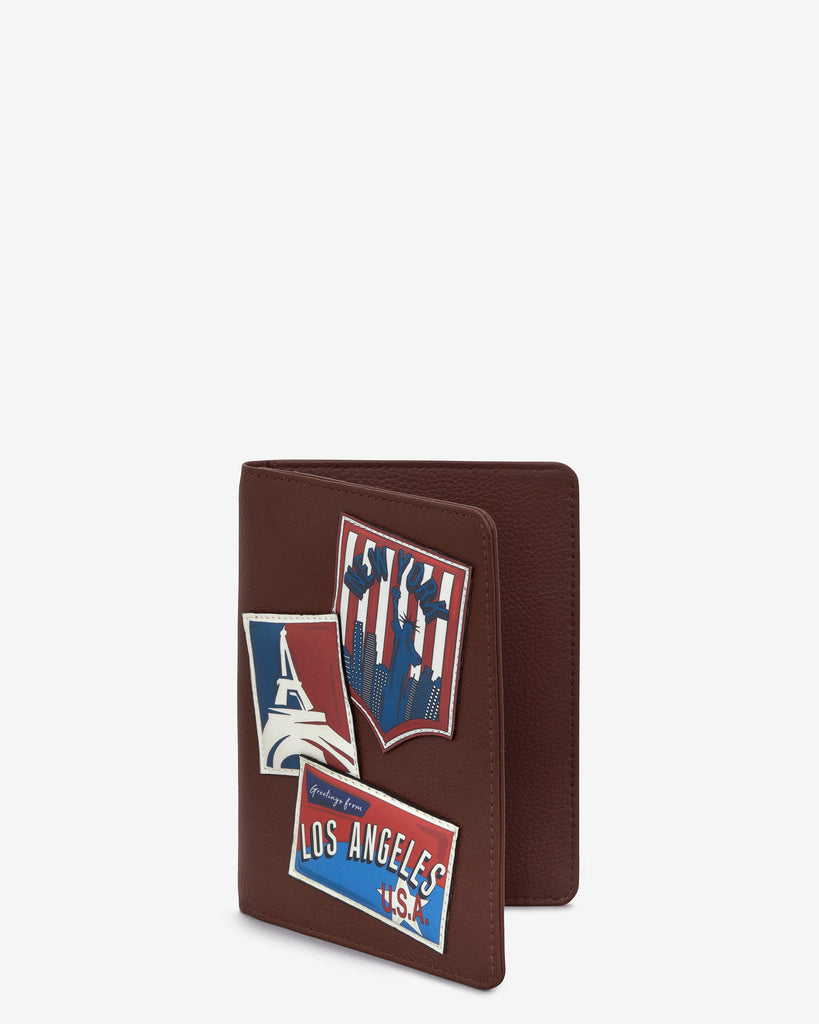 Happy Travels Brown Leather Passport Holder - Yoshi