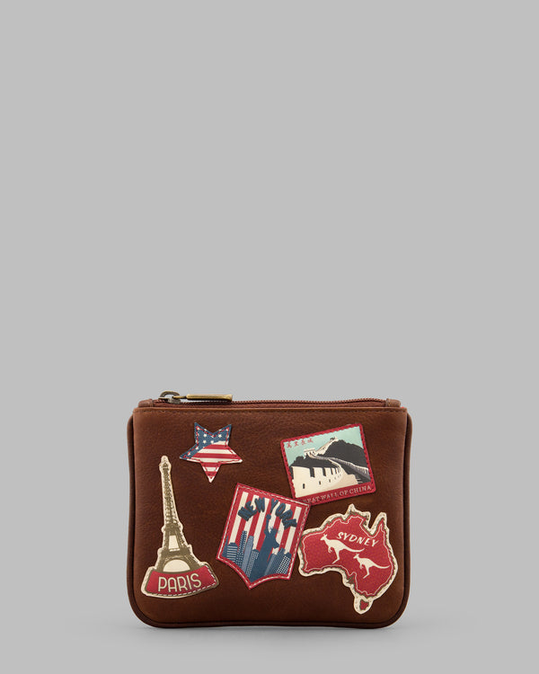Happy Travels Leather Zip Top Purse a