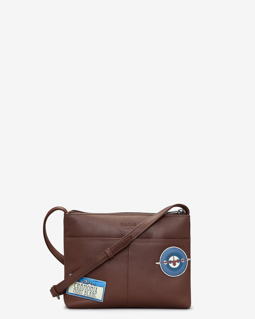 Happy Travels Brown Leather Cross Body Bag -  - Yoshi