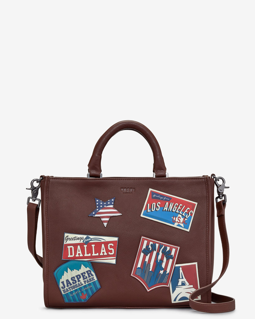 Happy Travels Brown Leather Tote Bag - Brown - Yoshi