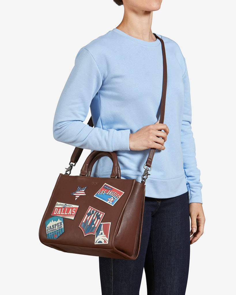 Happy Travels Brown Leather Tote Bag -  - Yoshi