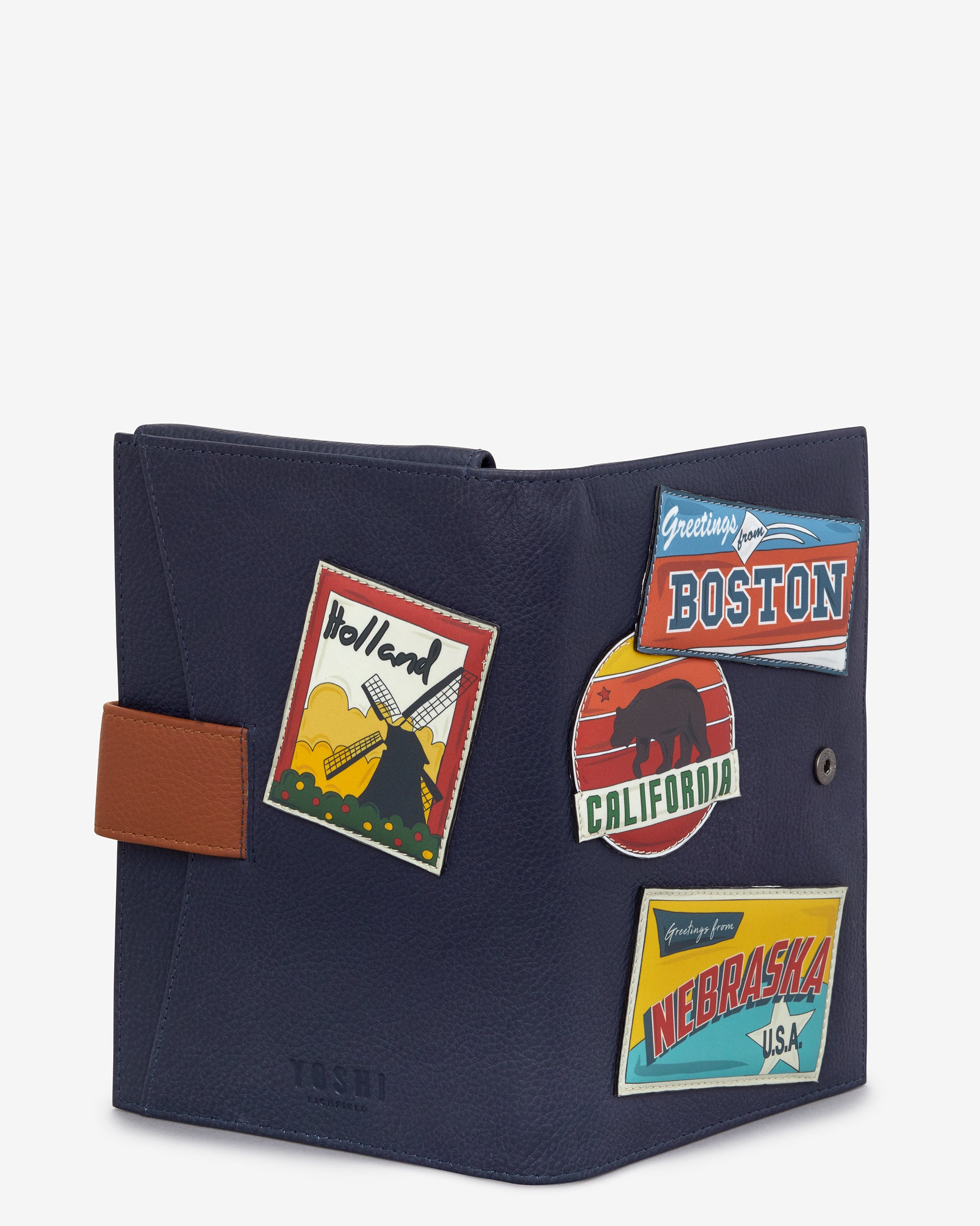 Happy travels navy blue leather travel document holder by yoshi yoshi travel document holder m4hsunfo