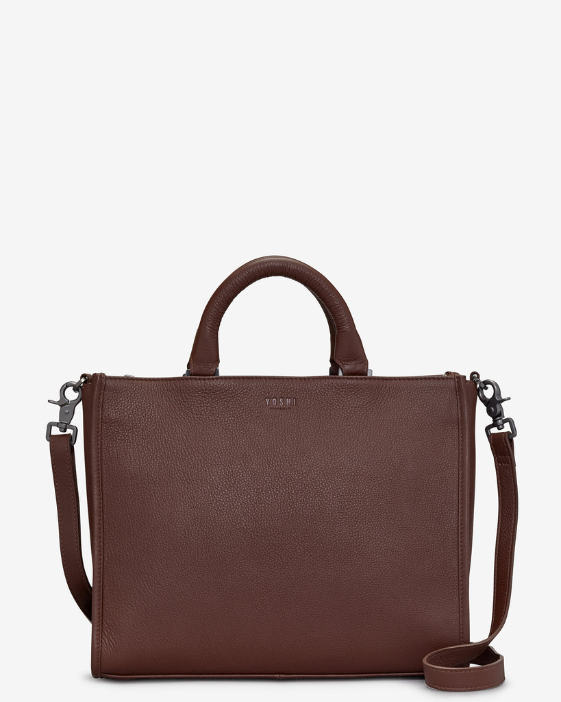 Harwood Brown Leather Tote Bag - Brown - Yoshi