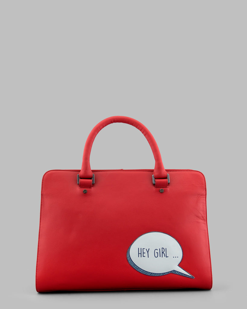 Hey Girl Gosling Red Leather Tote Bag a