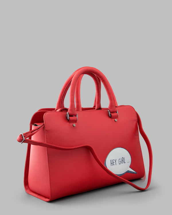 Hey Girl Gosling Red Leather Tote Bag d