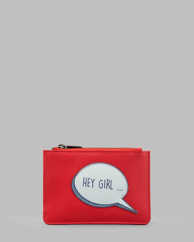 Hey Girl Gosling Red Leather Zip Top Purse a