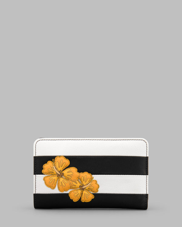 Hibiscus Flower Black & White Stripe Leather Flap Over Zip Round Purse A