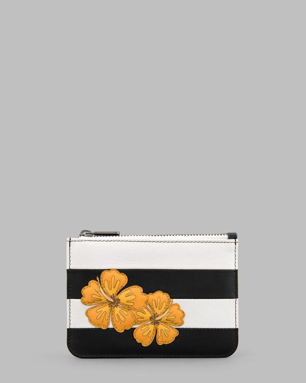 Hibiscus Flower Black & White Stripe Leather Zip Top Purse A