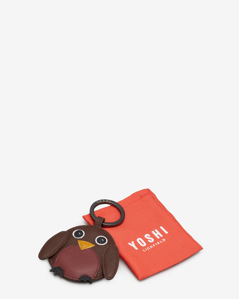 Holly The Robin Brown Leather Keyring -  - Yoshi