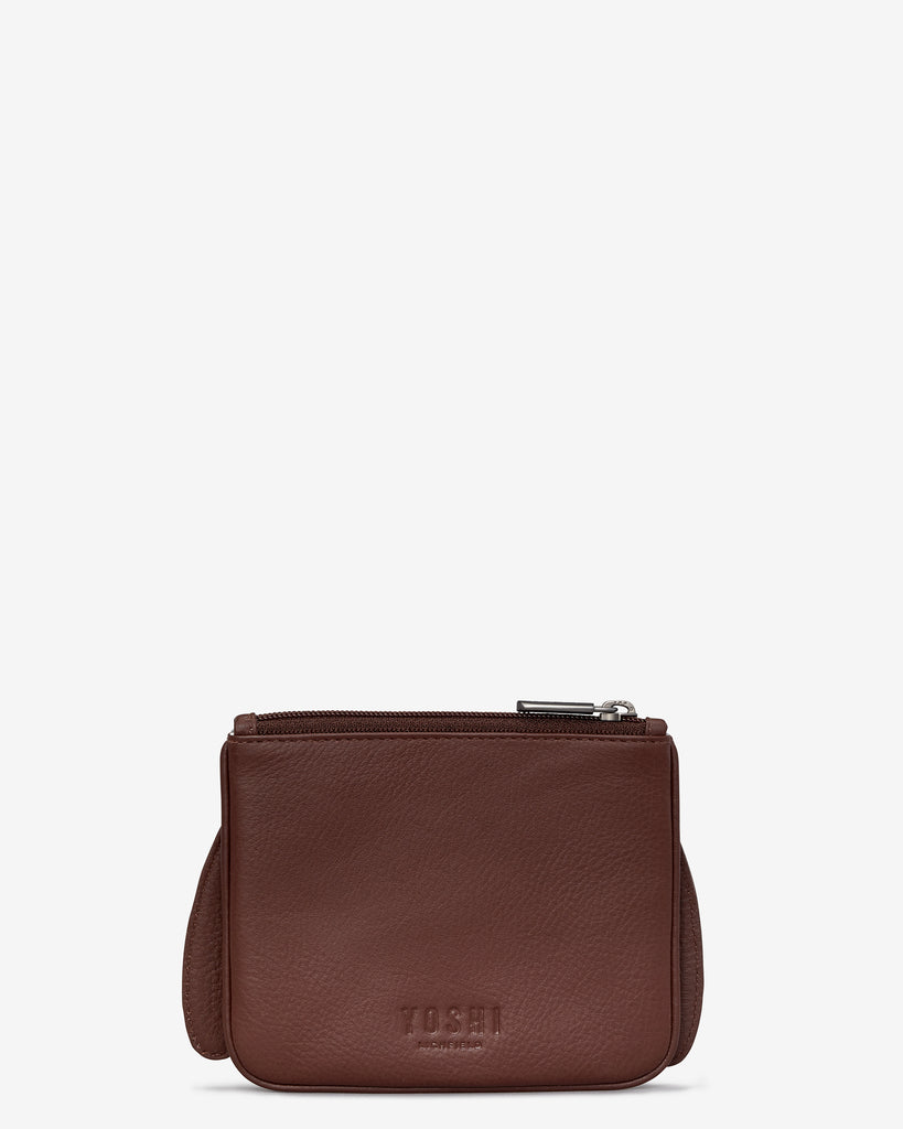 Holly The Robin Brown Leather Zip Top Purse - Yoshi