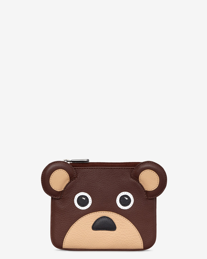 Humphrey the Bear Zip Top Leather Purse - Brown - Yoshi