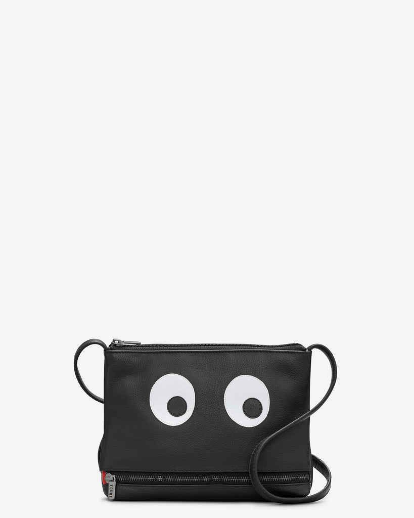 Hungry - Eyes Black Leather Cross Body Bag - Black - Yoshi