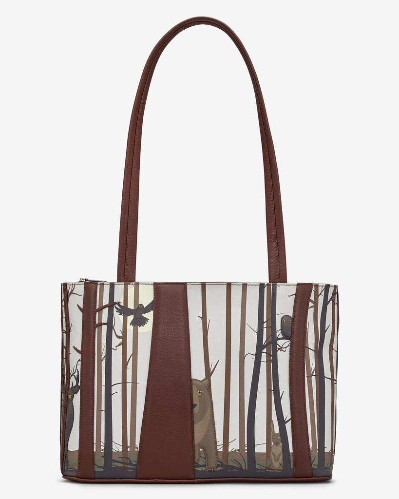 Into the Wild Brown Leather Shoulder Bag - Brown - Yoshi