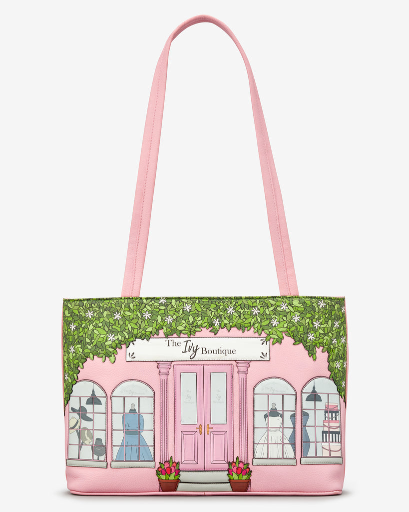 Ivy Boutique Pink Leather Shoulder Bag - Yoshi