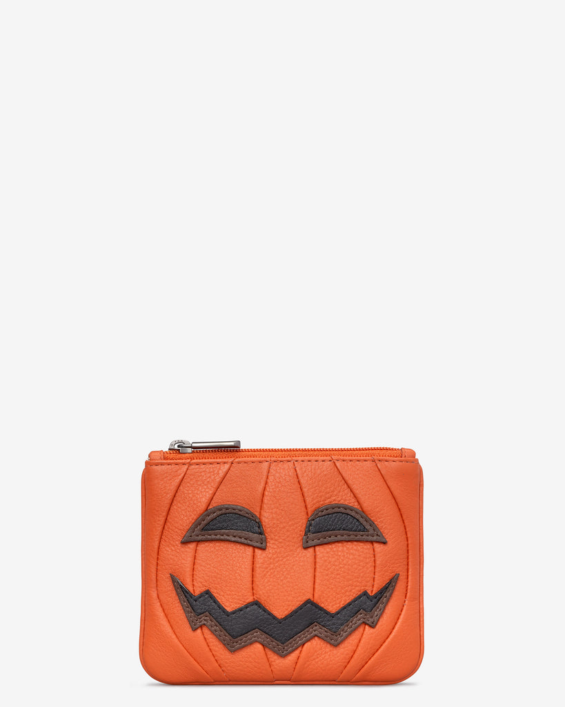 Jack O'Lantern Orange Leather Zip Top Purse - Orange - Yoshi