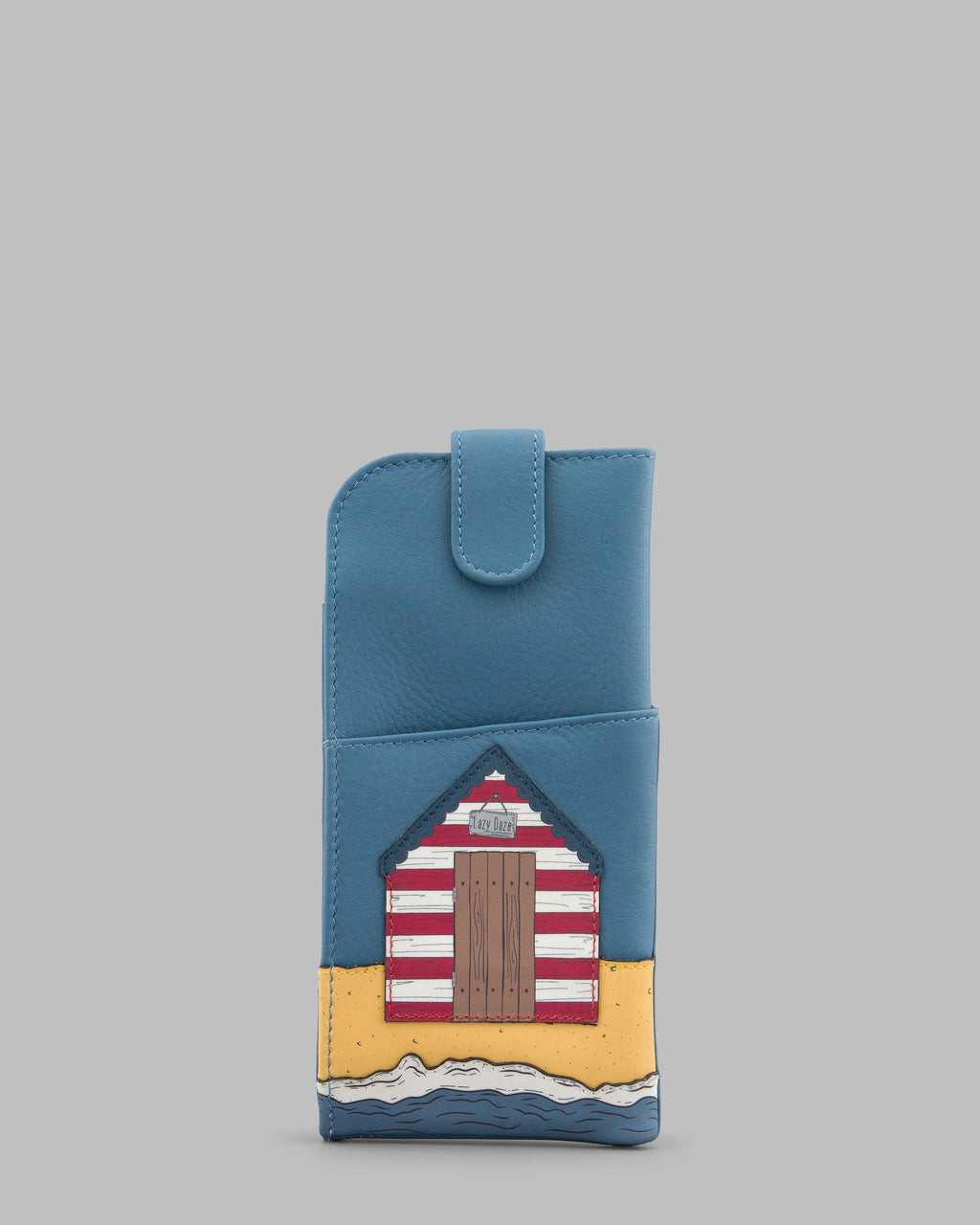 Lazy Daze Beach Huts Blue Leather Glasses Case A