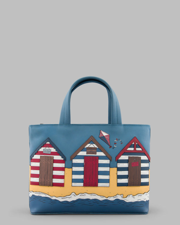 Lazy Daze Beach Huts Blue Leather Grab Bag A