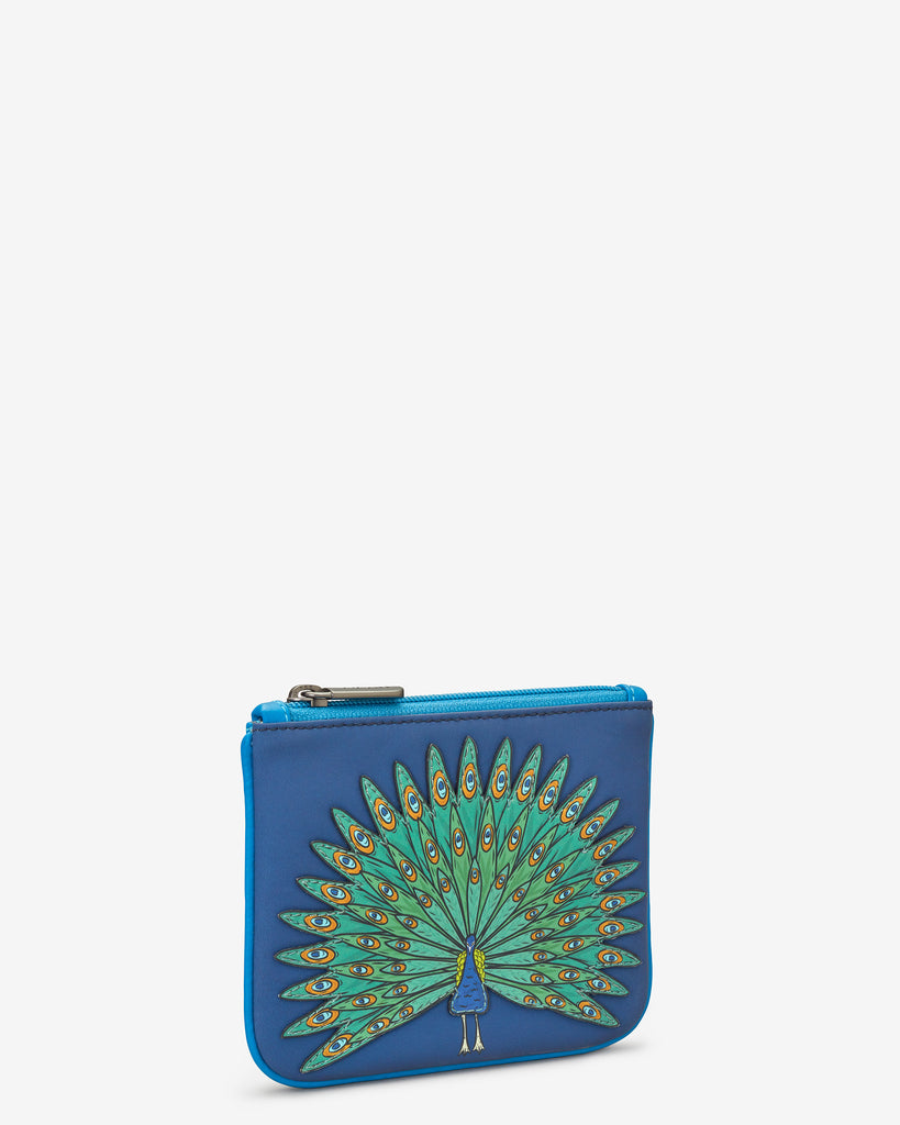 Peacock Zip Top Leather Purse - Yoshi