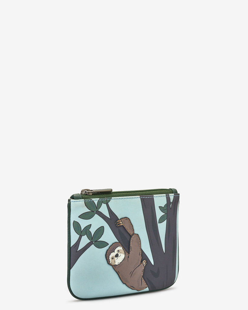 Sloth Zip Top Leather Purse - Yoshi