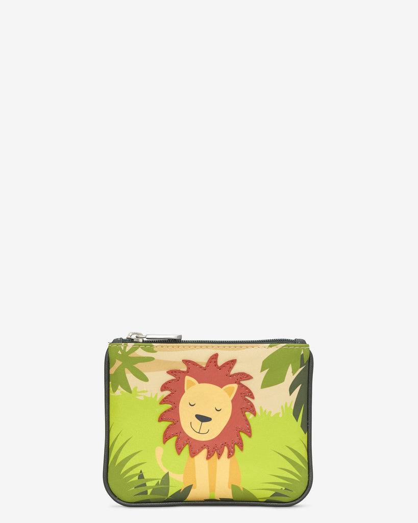 Leo The Lion Zip Top Leather Purse - Green - Yoshi
