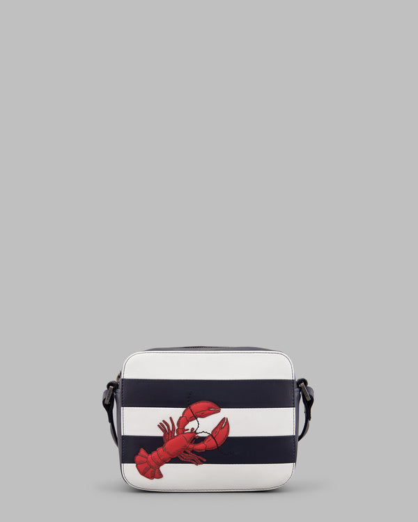 Lobster Navy & White Stripe Leather Cross Body Bag A