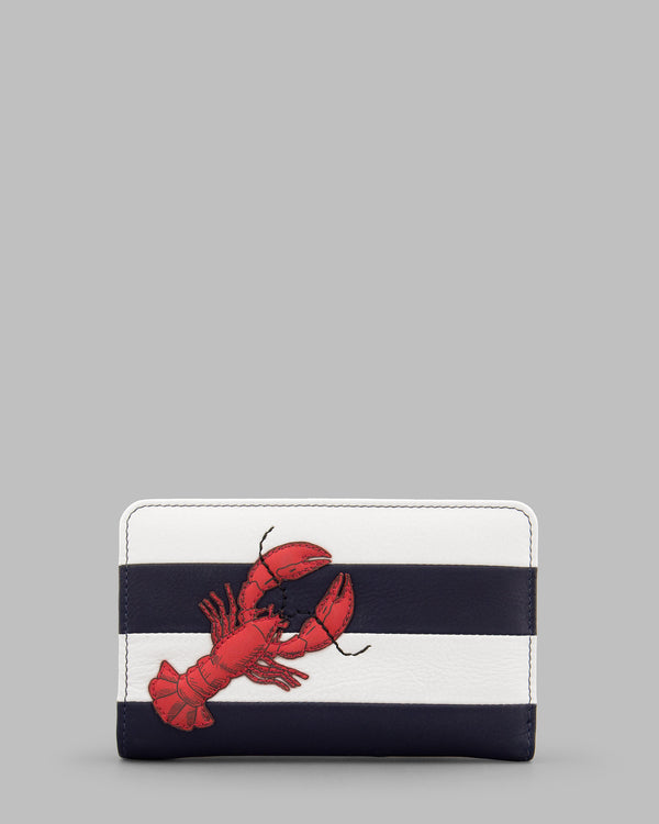 Lobster Navy & White Stripe Leather Flap Over Zip Round Purse A