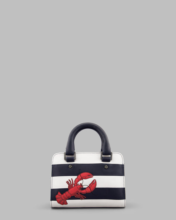 Lobster Navy & White Stripe Leather Grab Bag A