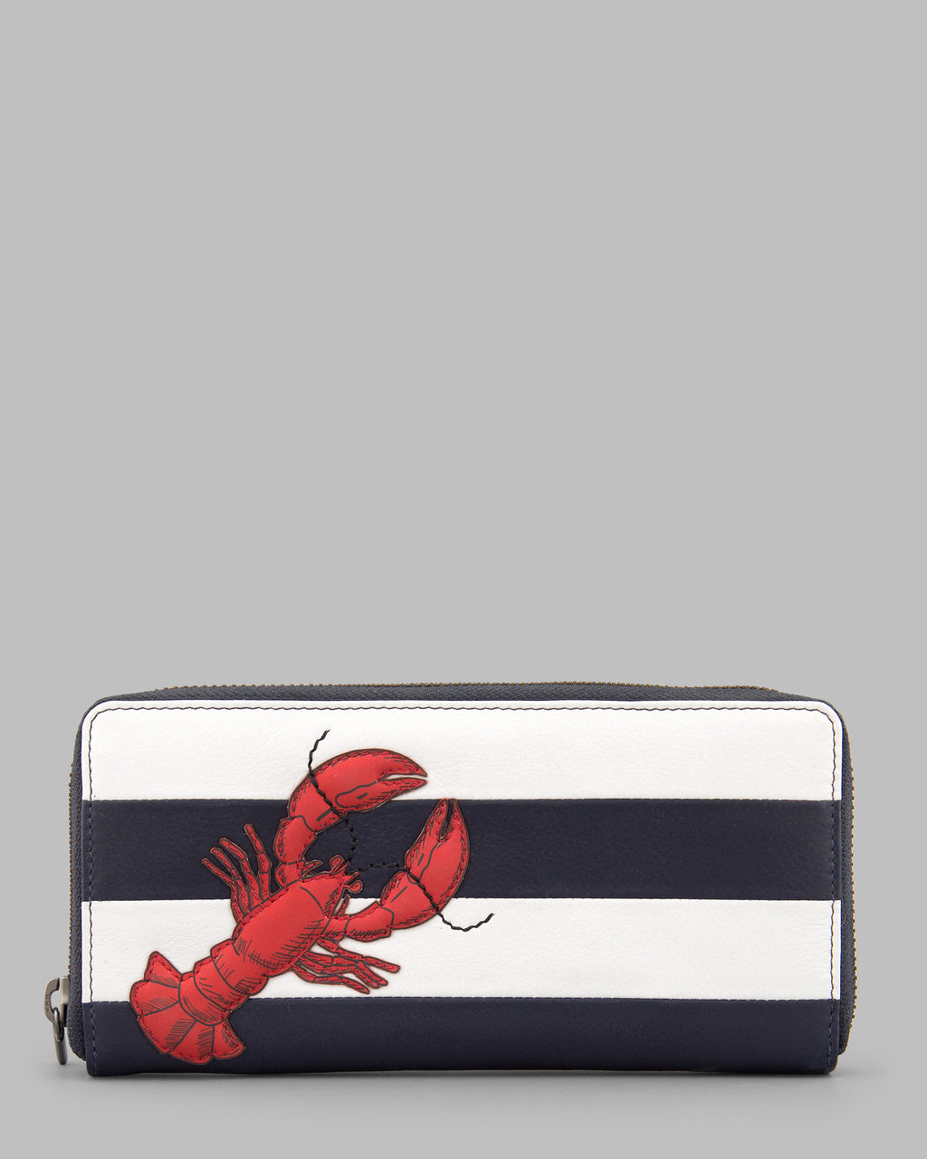Lobster Navy & White Stripe Leather Zip Round Purse A