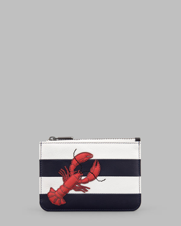 Lobster Navy & White Stripe Leather Zip Top Purse A
