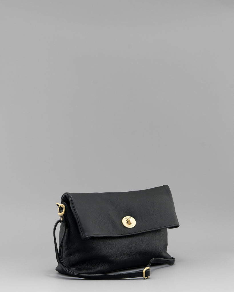 Lowry Black Leather Clutch Bag by Yoshi C