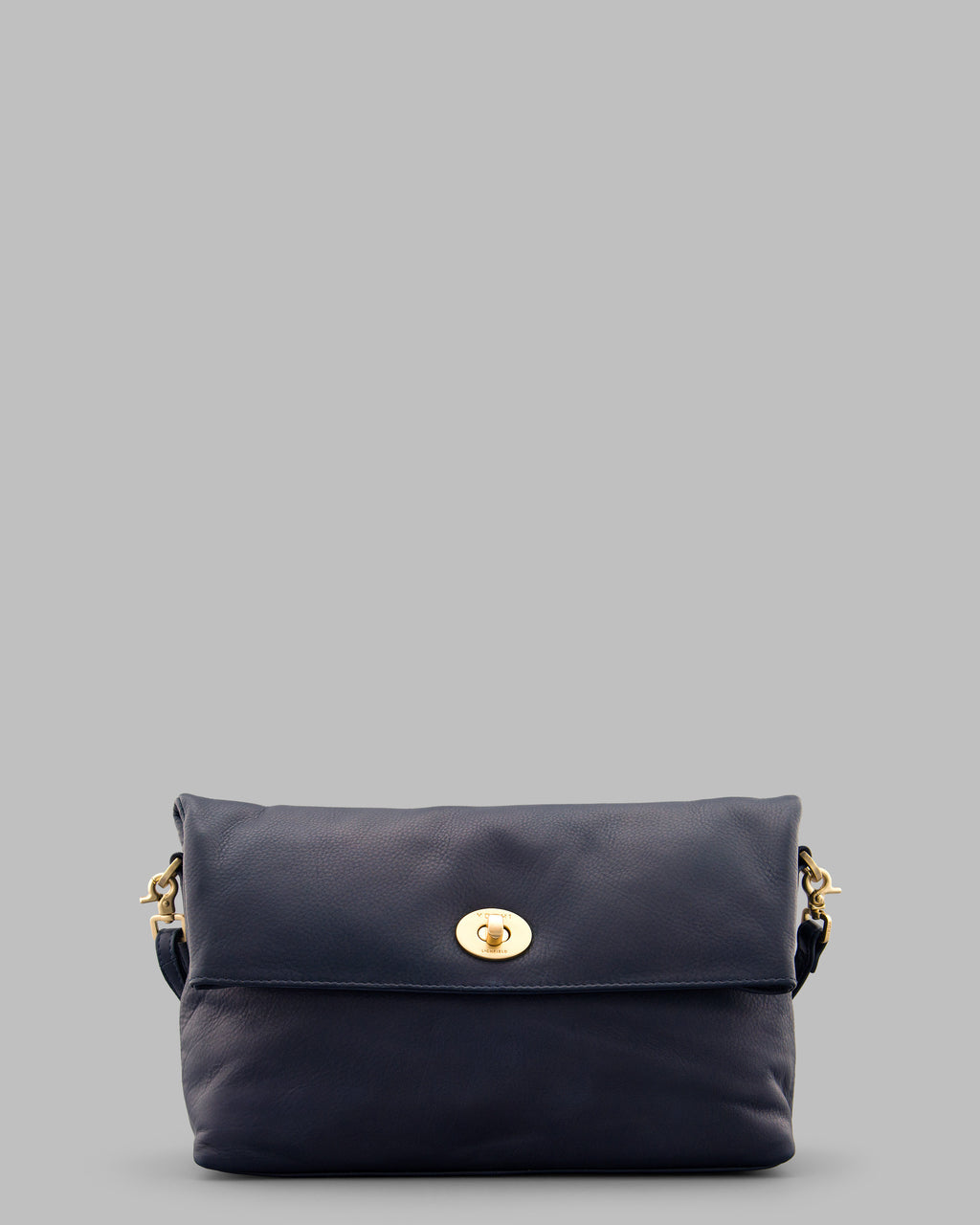 Lowry Navy Leather Shoulder Cross Body Clutch Bag A