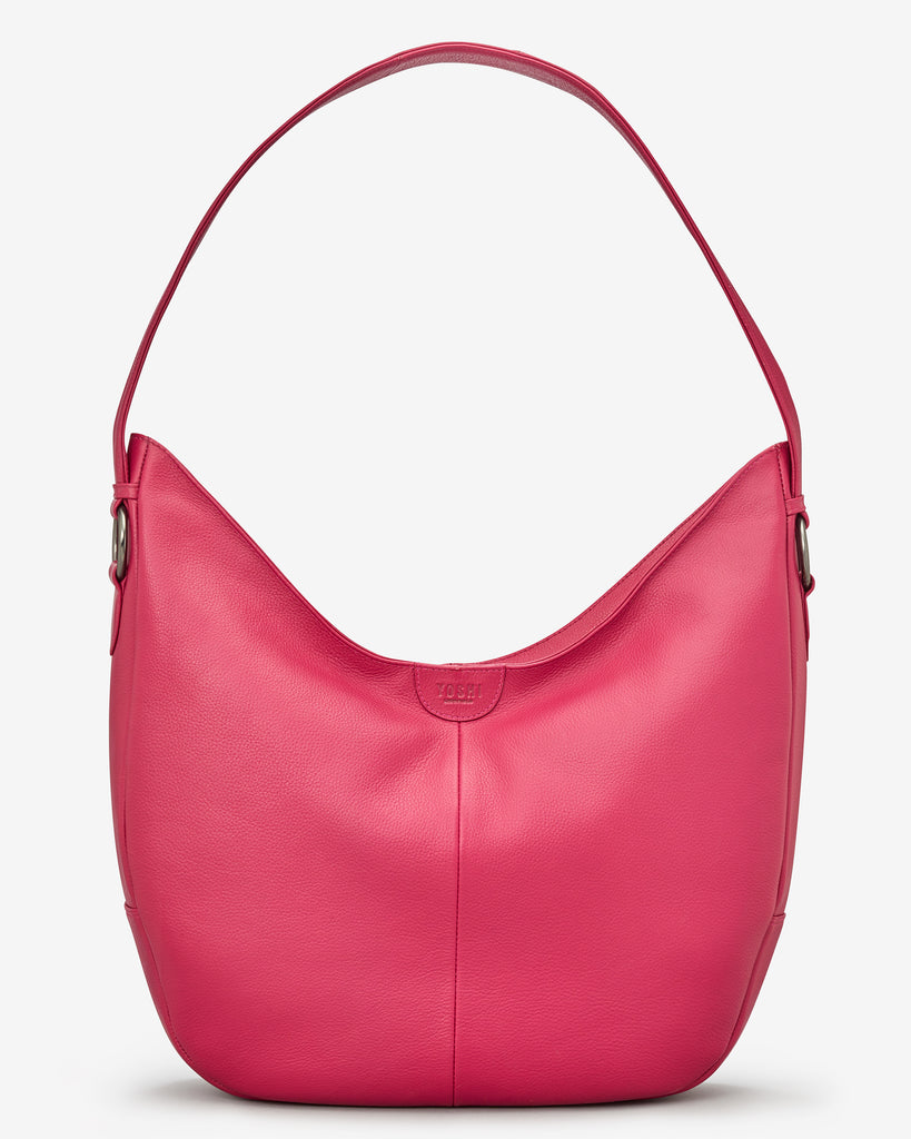 Ludlow Raspberry Leather Shoulder Bag - Yoshi