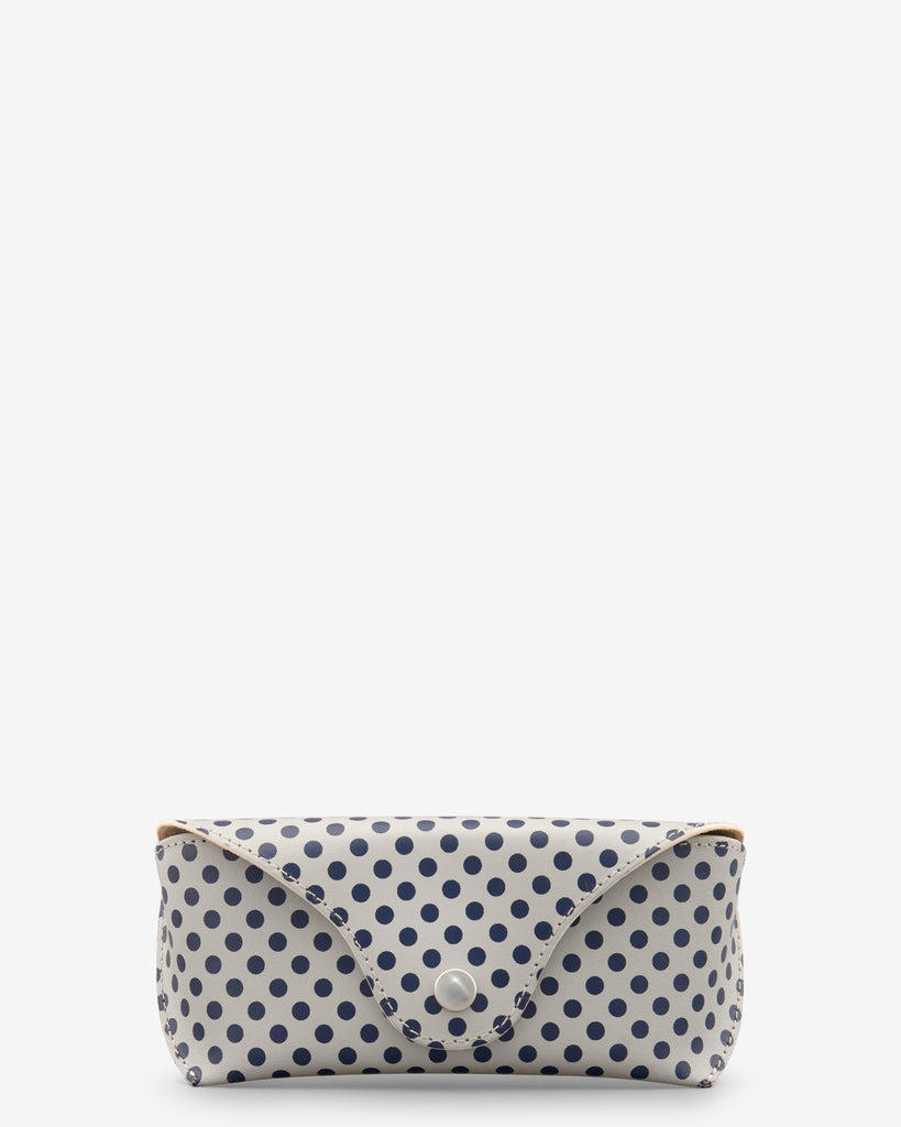 Lunar Grey Leather Polka Print Glasses Case - Lunar - Yoshi