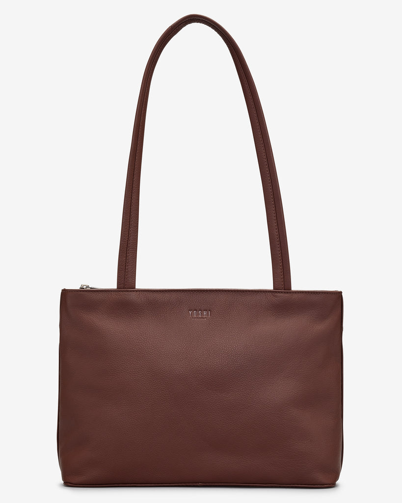 Madison Brown Leather Shoulder Bag - Brown - Yoshi