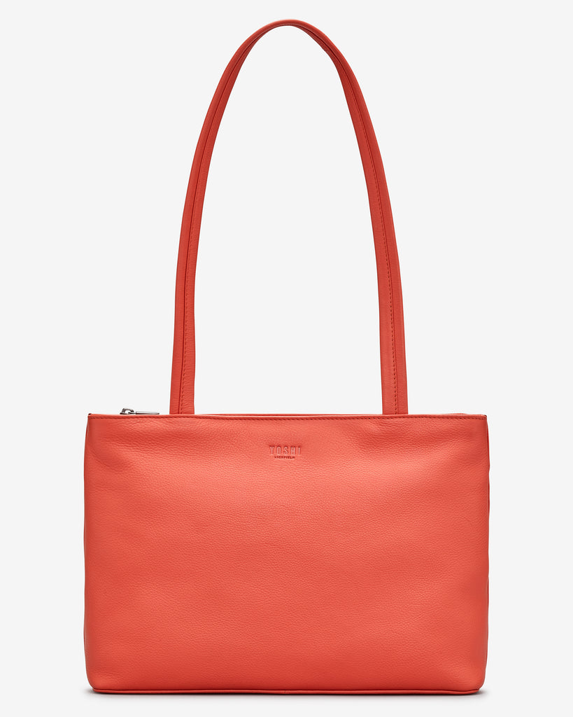 Madison Coral Leather Shoulder Bag - Coral - Yoshi