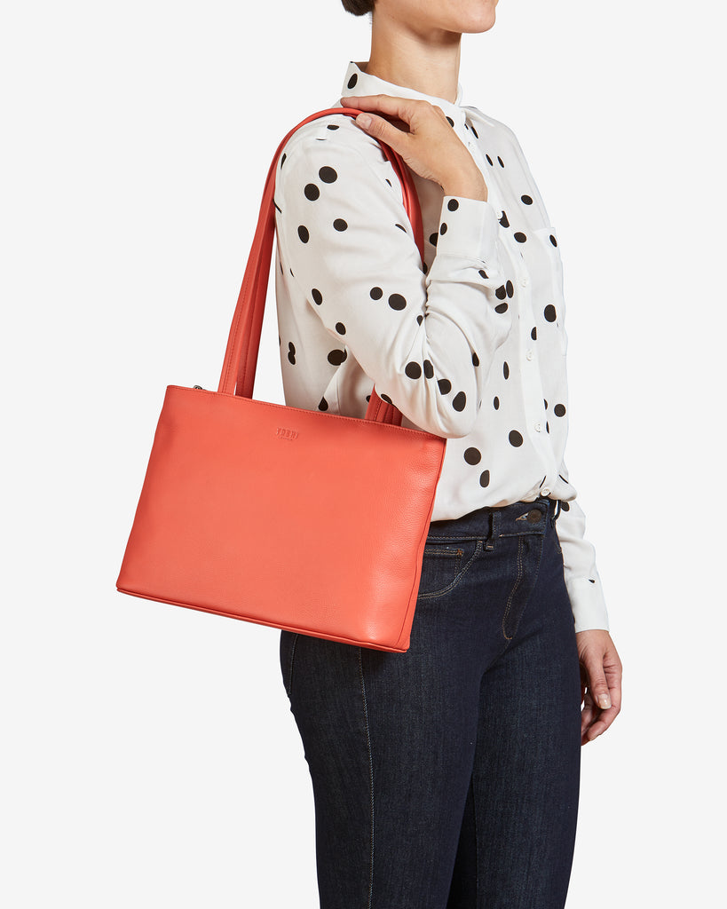 Madison Coral Leather Shoulder Bag -  - Yoshi