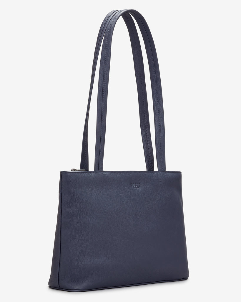 Madison Navy Leather Shoulder Bag - Yoshi