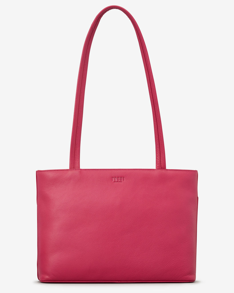 Madison Raspberry Leather Shoulder Bag - Yoshi