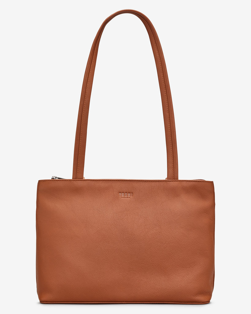 Madison Tan Leather Shoulder Bag - Tan - Yoshi