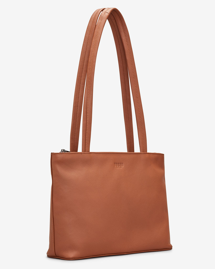 Madison Tan Leather Shoulder Bag - Yoshi