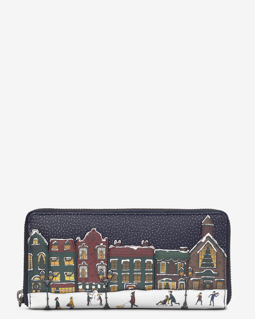 Magic Of Winter Navy Leather Baxter Purse - Navy - Yoshi