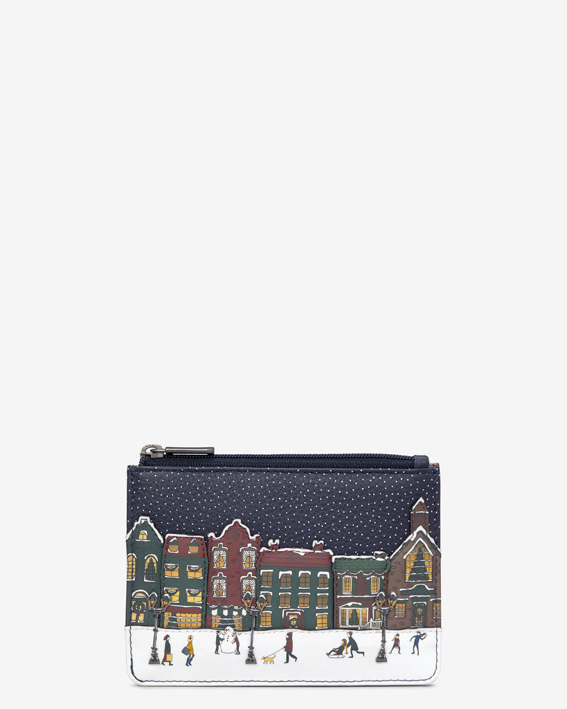 Magic Of Winter Navy Leather Franklin Purse - Navy - Yoshi