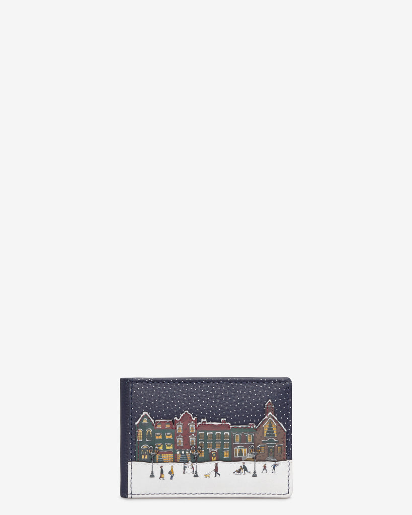 Magic Of Winter Navy Leather Travel Pass Holder - Navy - Yoshi