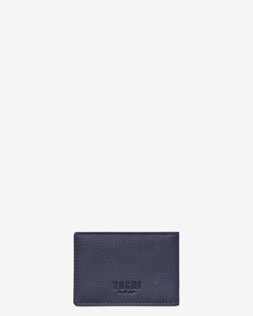 Magic Of Winter Navy Leather Travel Pass Holder -  - Yoshi