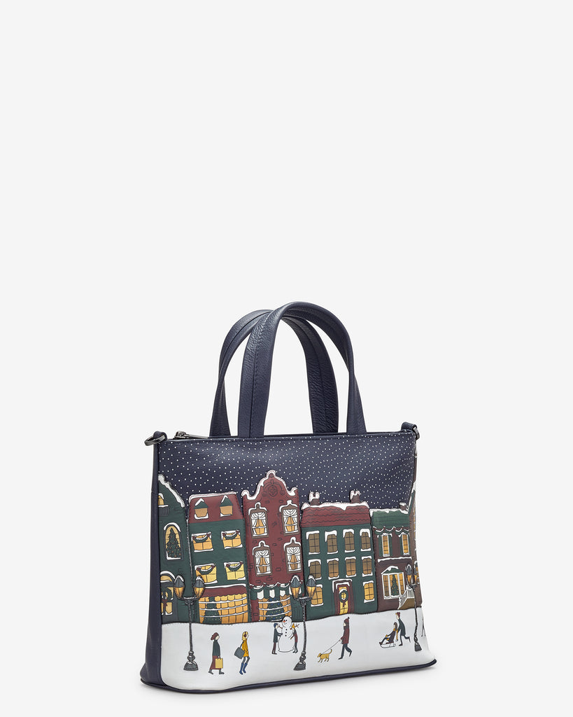 Magic of Winter Navy Leather Multiway Grab Bag -  - Yoshi